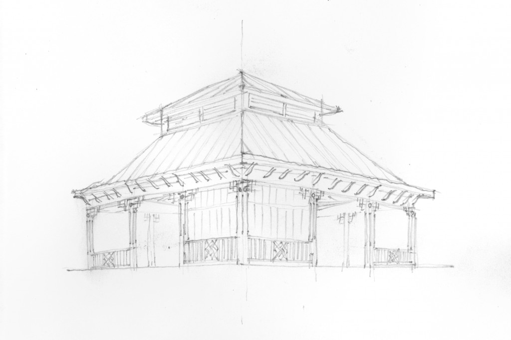 Greg Shue's sketch of the Chinese Pavilion - Sandy Logan, architect