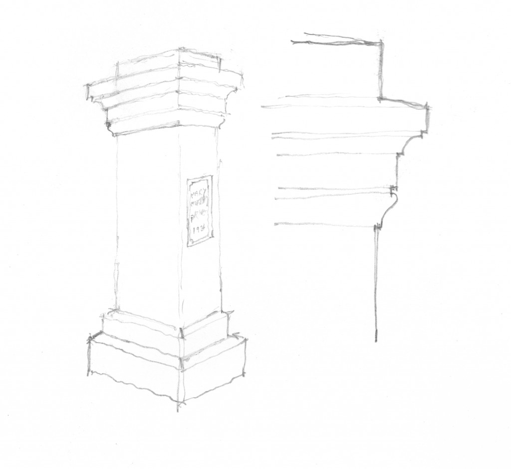 Greg Shue's sketch of the Mary Murray Driveway Marker, 1924