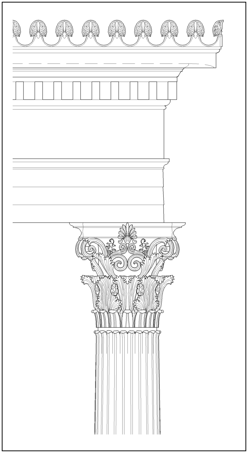 Column Capital and Entablature